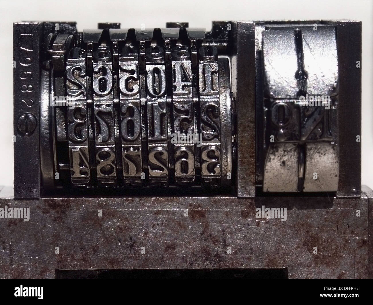 Meter, detail of typographical plate - Stock Image