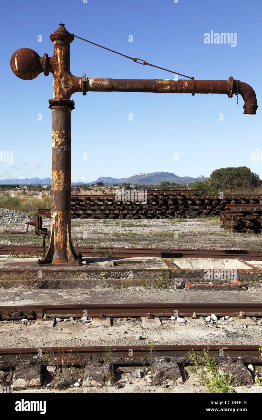Old Water pump for old steam locomotives, ADIF, RENFE station, Mora la Nova, Tarragona, Catalonia, Spain, Europe, - Stock Image