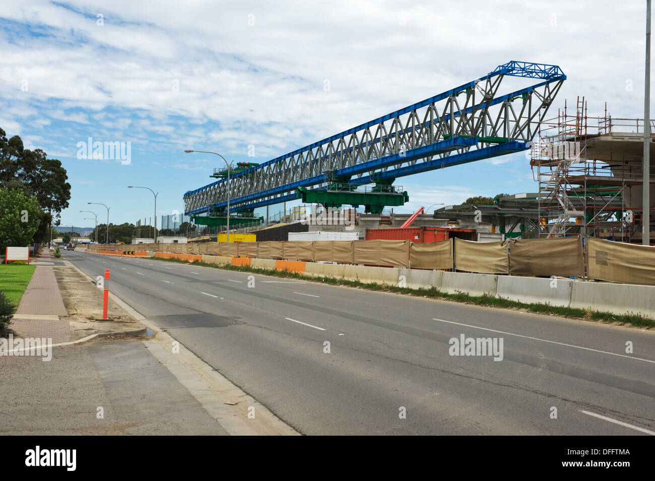 general view for the reconstruction of the road with different mechanisms - Stock Image