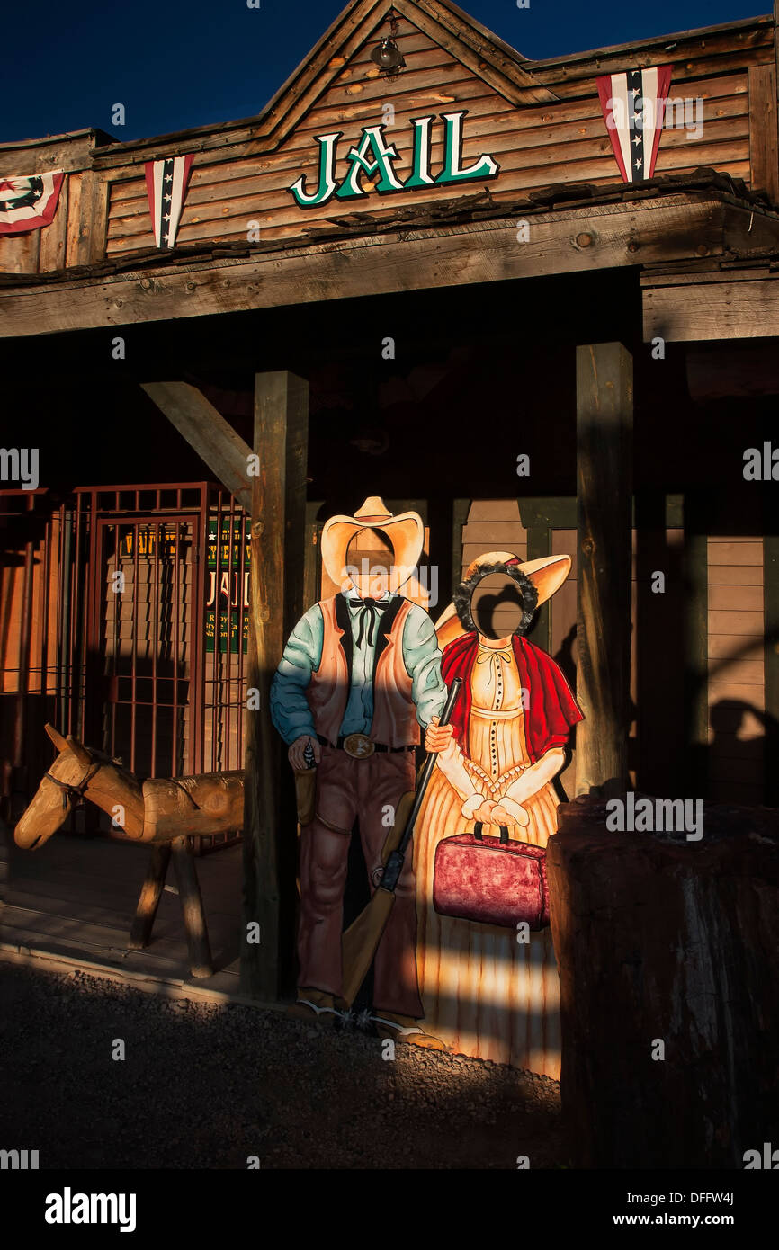 Cowboy Cutouts at a western town shopping are outside of Bryce Canyon National Park Stock Photo
