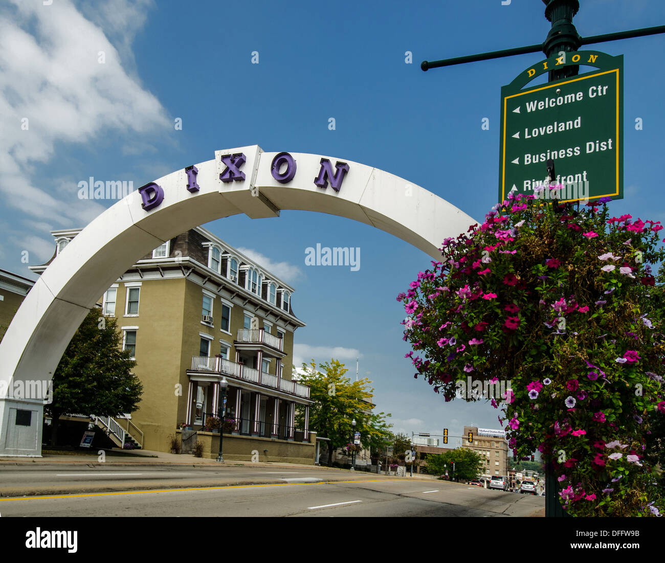 Arch in Dixon, Illinois, a city along the Lincoln Highway. - Stock Image