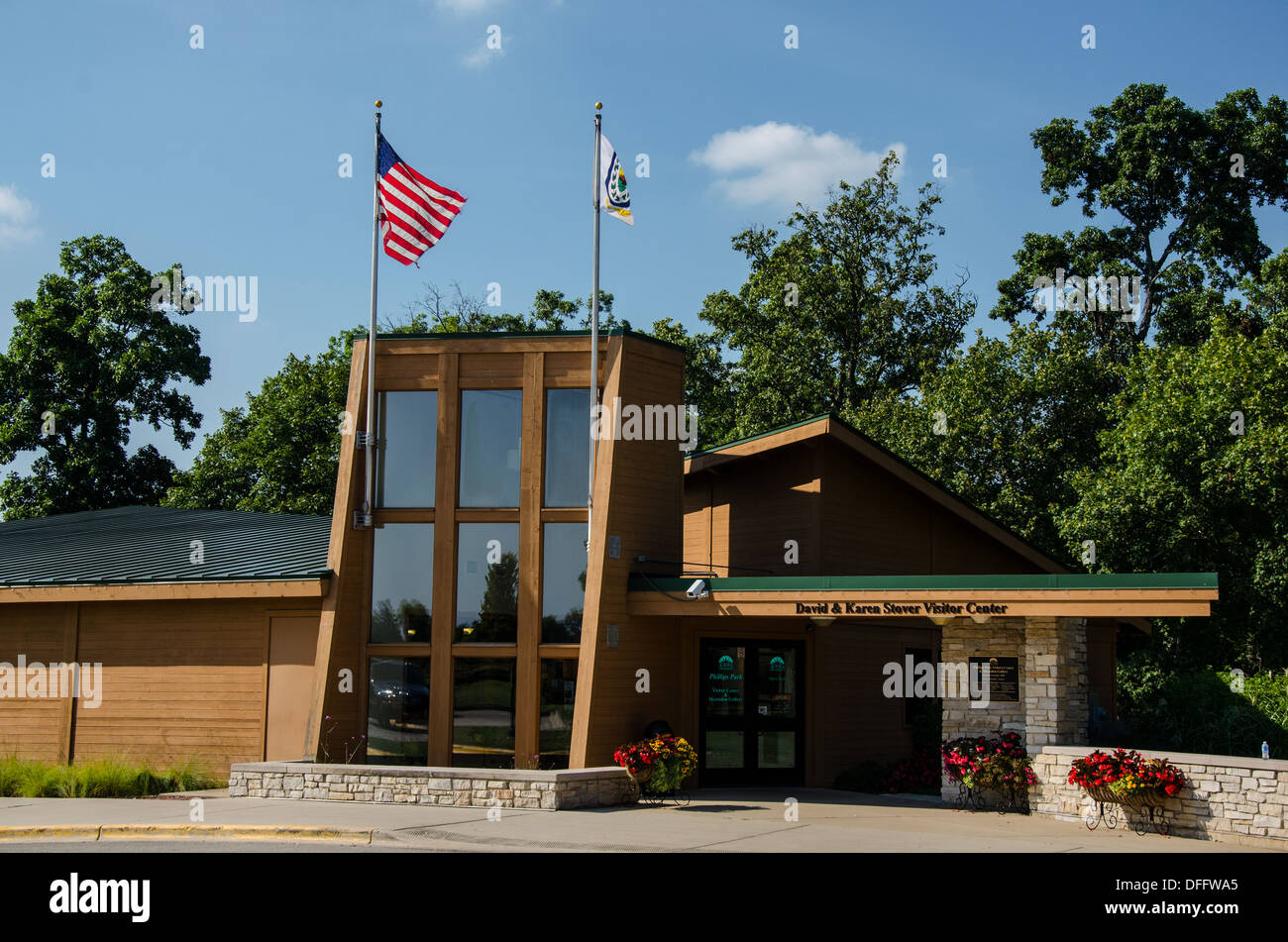 Visitor Center at Phillips Park in Aurora, Illinois, a town along the Lincoln Highway. - Stock Image