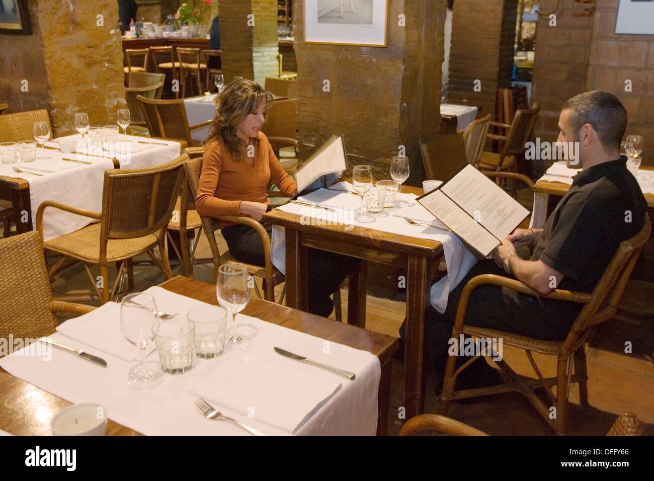 Restaurant Cafè de l´Acadèmia, Plaça Sant Just, Barcelona, Spain - Stock Image