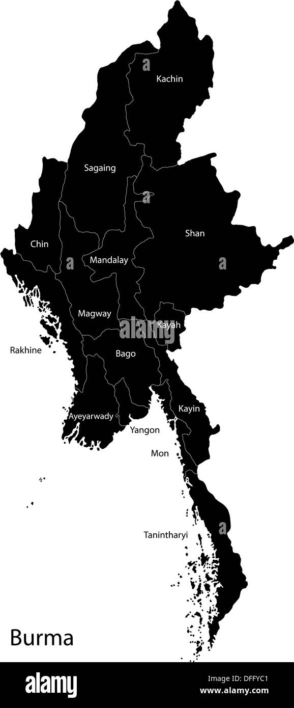 Black Burma map Stock Photo