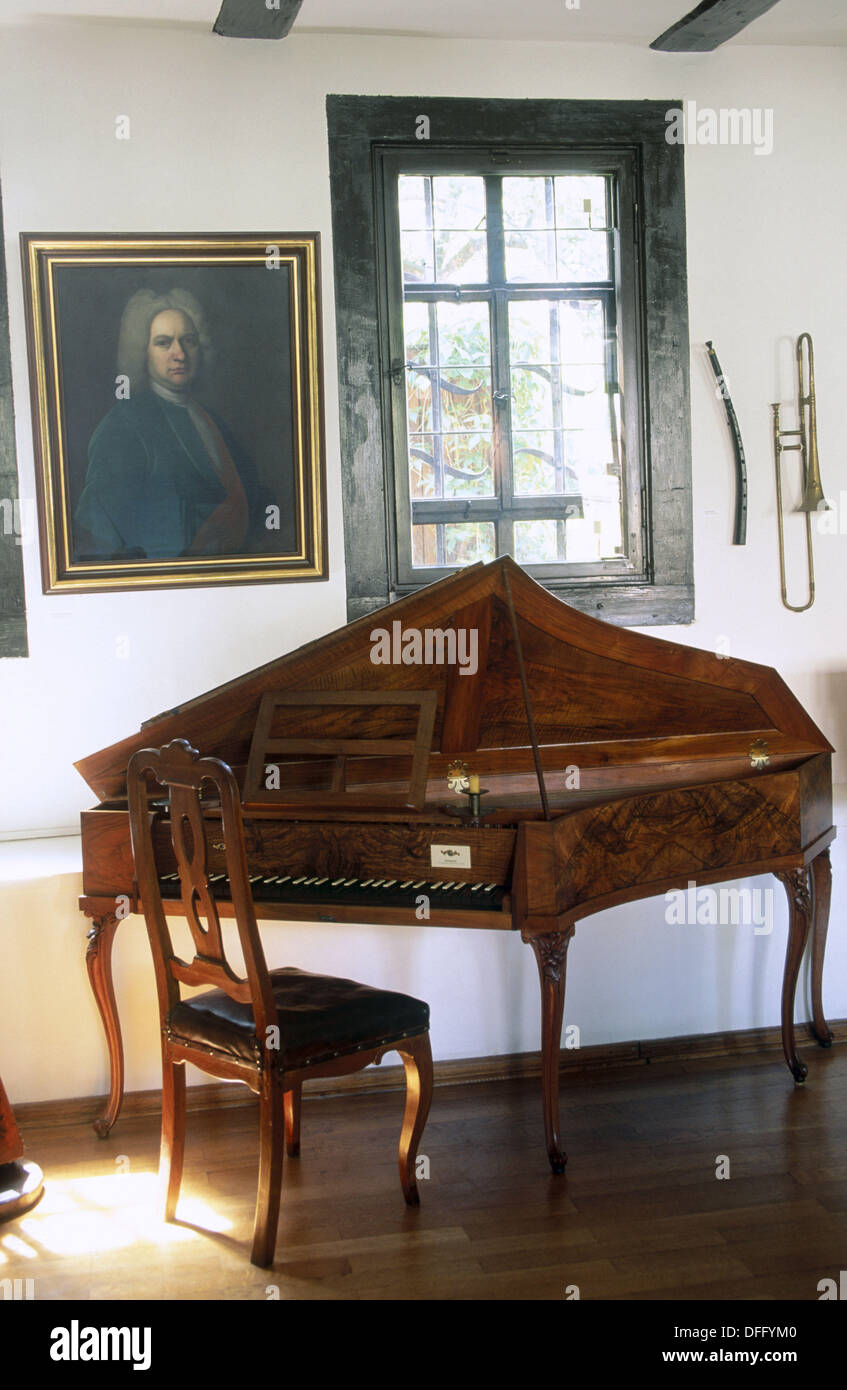 ´Spinet´ by Johann Heinrich Silbermann (1760). House of Bach. Eisenach. Thuringia. Germany. - Stock Image