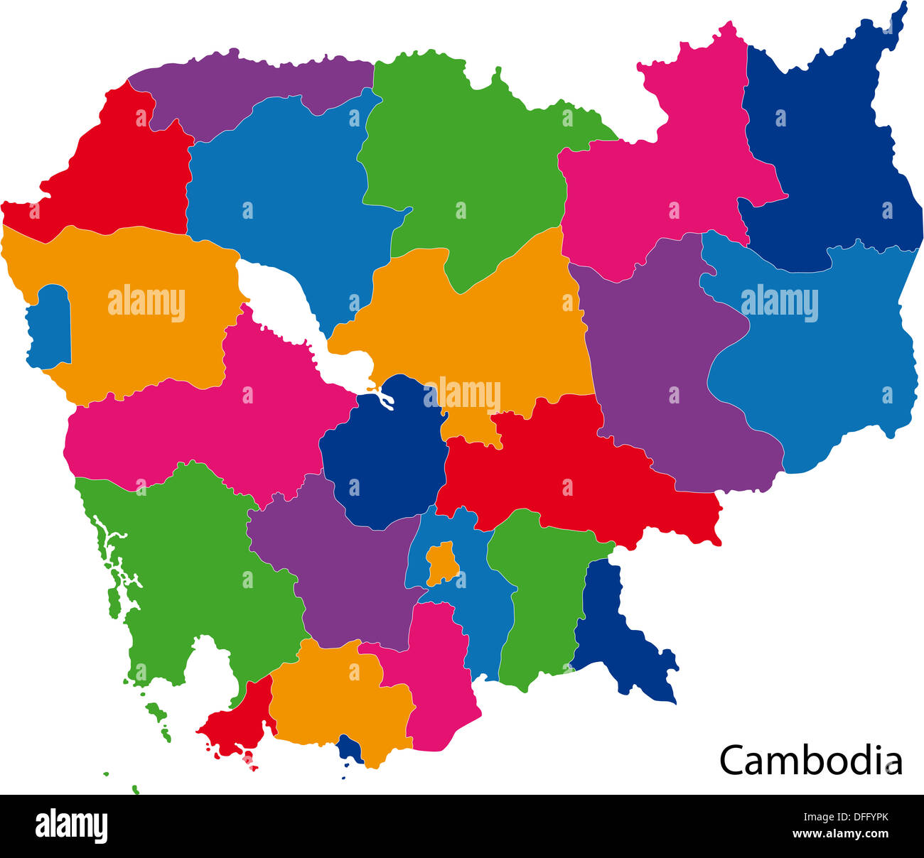 Colorful Cambodia map Stock Photo: 61202027 - Alamy