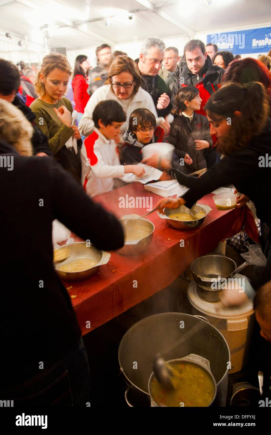 Party in Tamarro Race. Popular competition. Ski resort of Espot. Catalan Pyrenees. Espot. Pallars Sobira. Lleida - Stock Image
