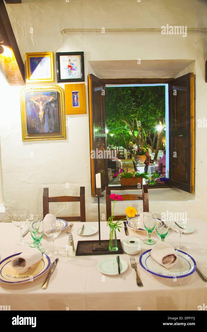 La Masia d´en Sort Restaurant. Road Ibiza-Sant Miquel, Km 1. Ibiza. Balearic Islands. Spain. - Stock Image