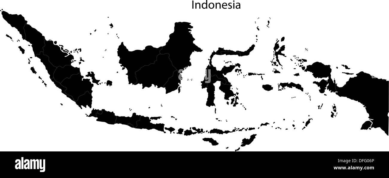 Black Indonesia map - Stock Image