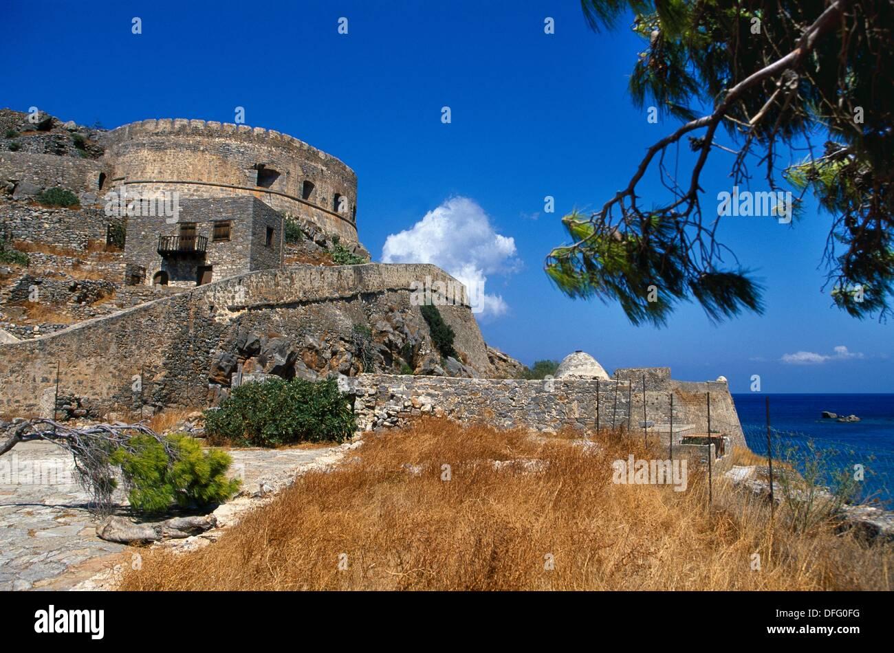 16th Century Venetian Fortress  Spinalonga Island  Gulf of Mirambello, Crete  Greece. - Stock Image
