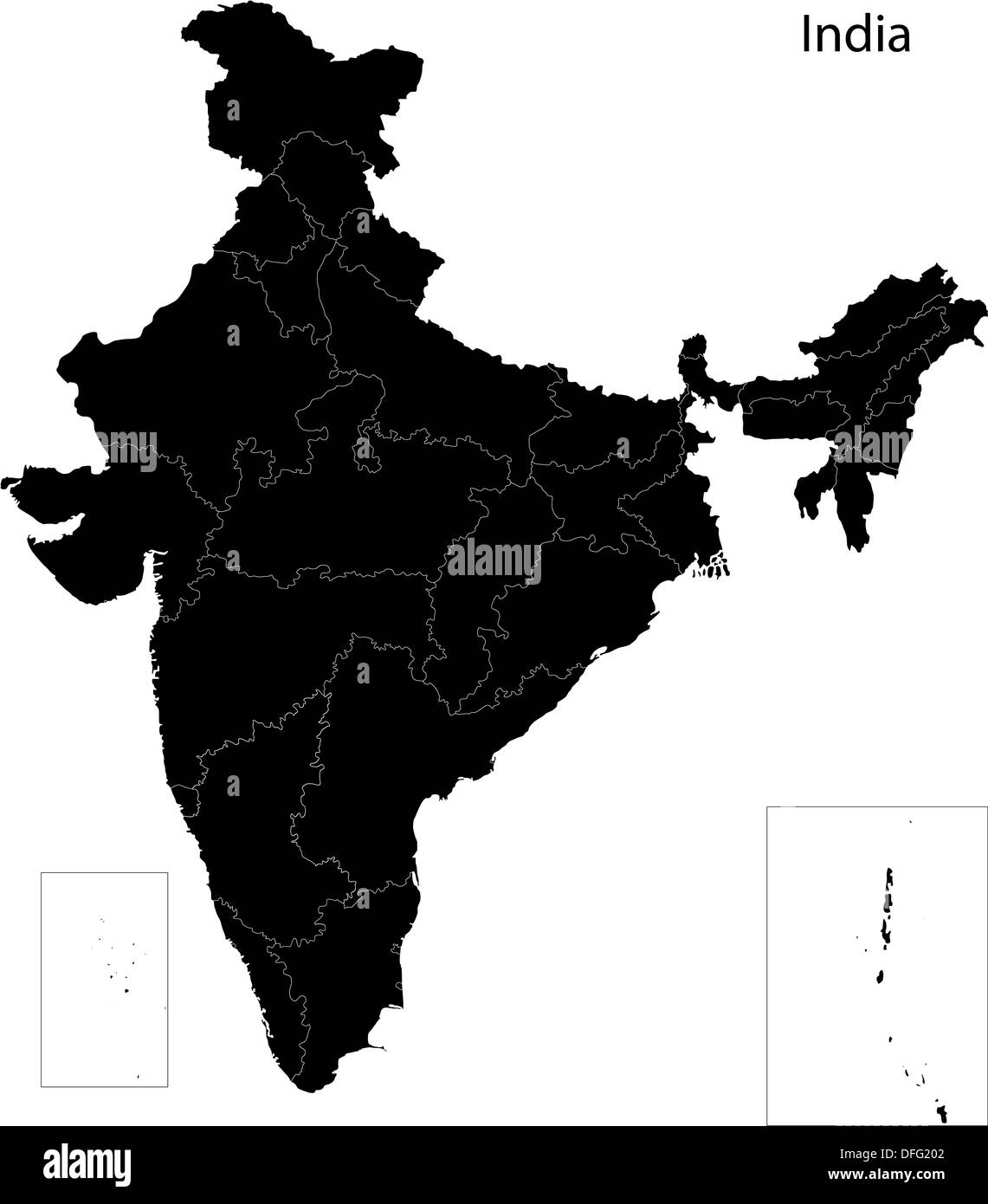 Black India Map Stock Photo Alamy