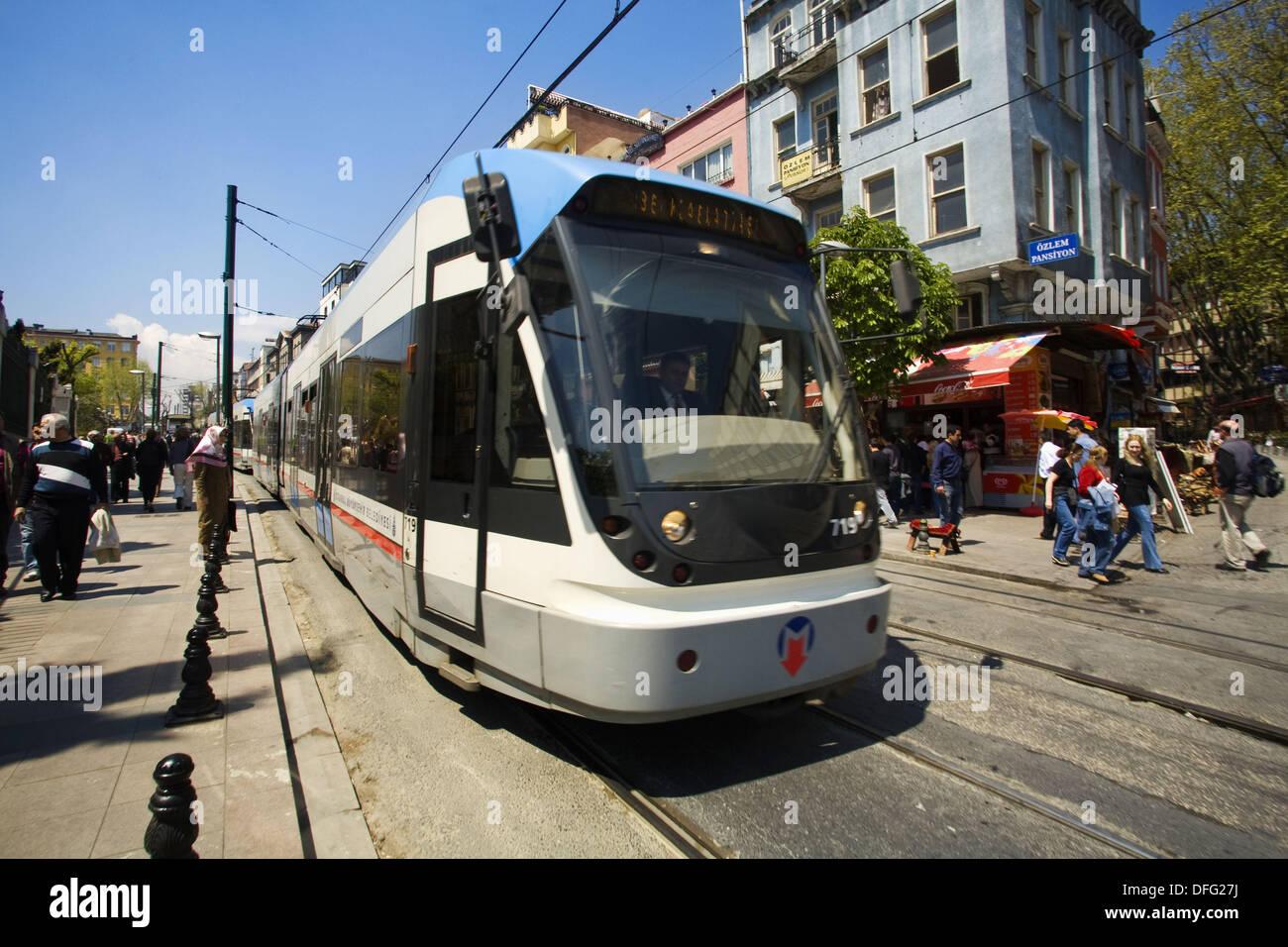 Tram in Sultanahmet, Istanbul, Turkey - Stock Image