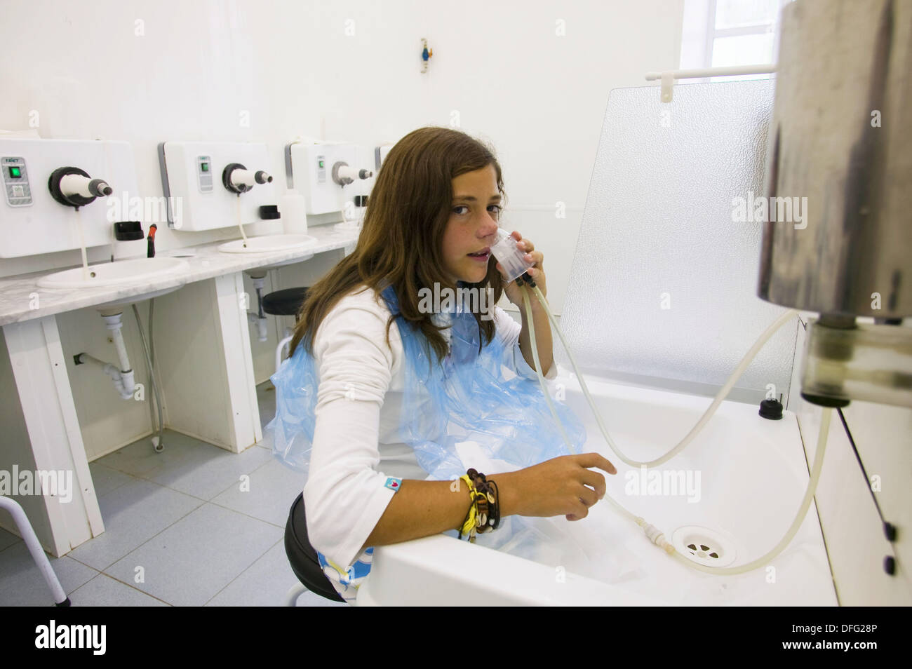 Respiratory inhaler in spa, Lierganes. Pas-Miera, Cantabria, Spain - Stock Image