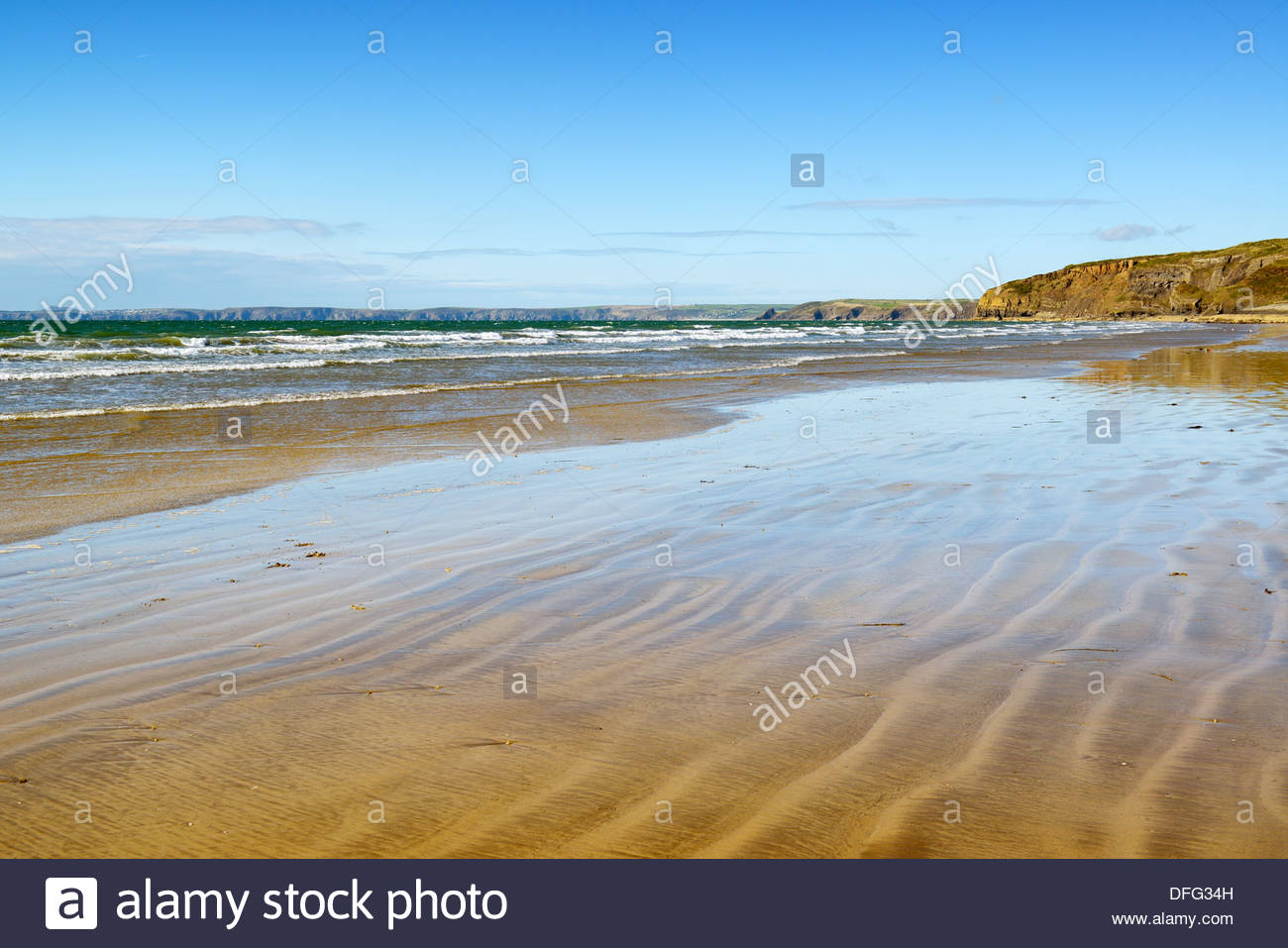 Ripples in the sand, Broad Haven beach, Pembrokeshire, Wales UK Britain - Stock Image