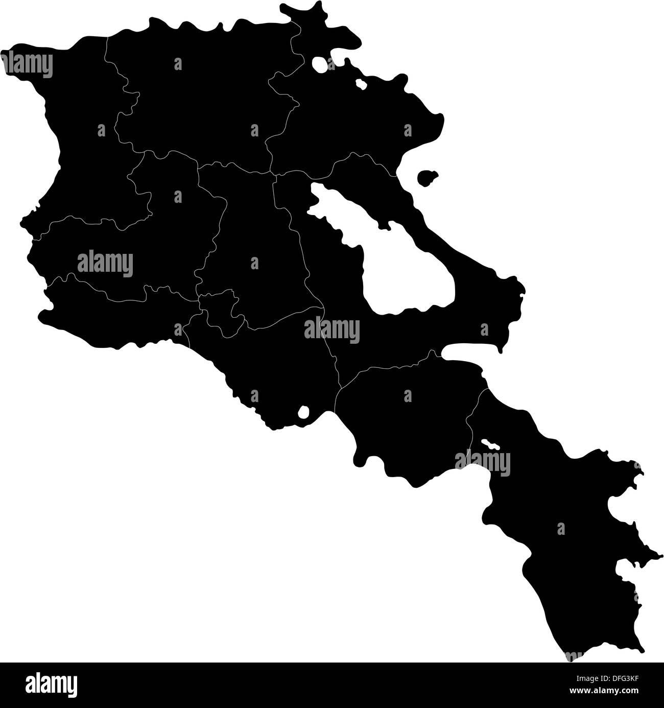 Black Armenia map - Stock Image