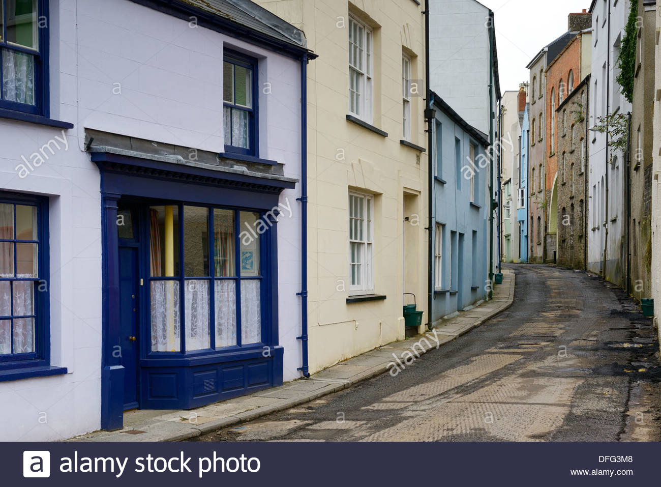 Dark Street, urban decay, Haverfordwest, Wales Britain UK - Stock Image