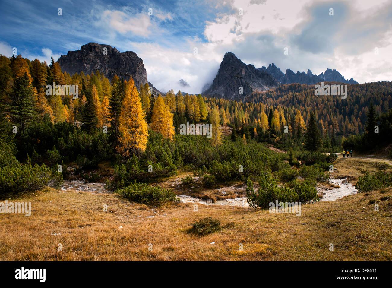 Cristallo mountains near Cortina d'Ampezzo in the Dolomites Mountain Range, Italy. - Stock Image