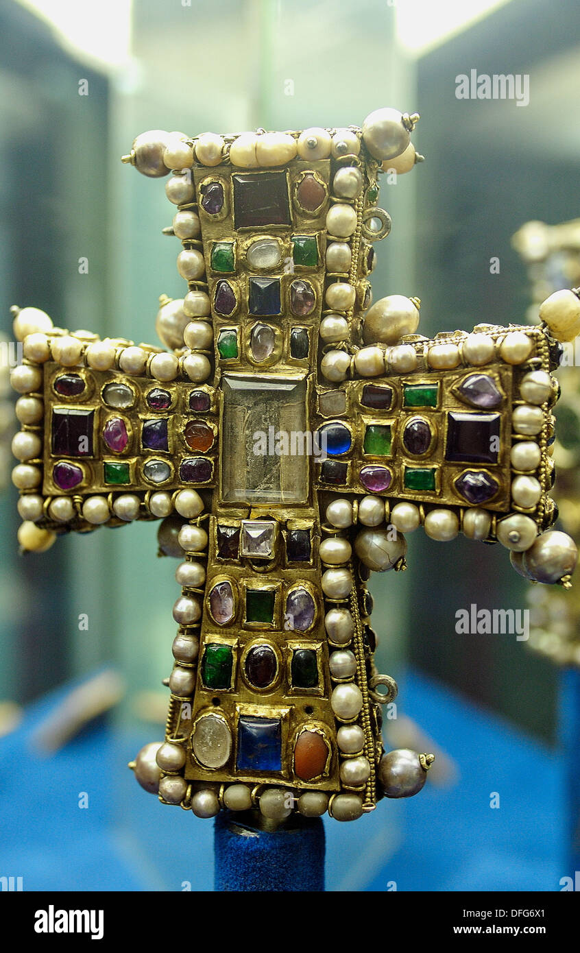 Byzantine cross preserved in the treasure museum of Notre Dame cathedral. Tournai. Hainaut, Belgium - Stock Image