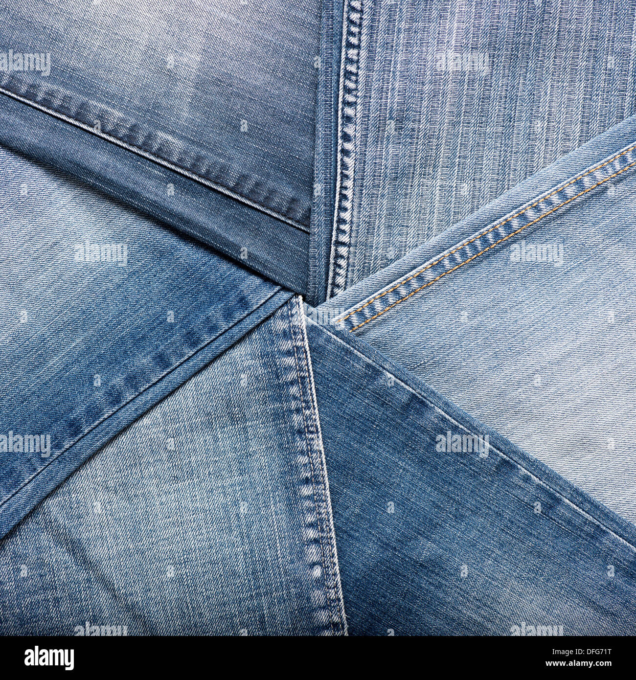 Blue denim jeans texture, background - Stock Image