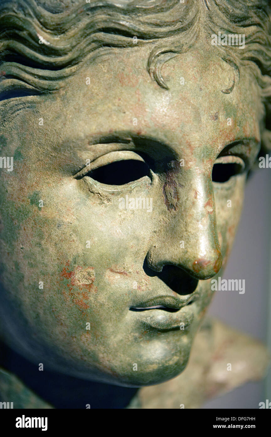 Bronze head of a goddess, probably Aphrodite, Hellenistic Greek, The British Museum, London. England. UK. Stock Photo