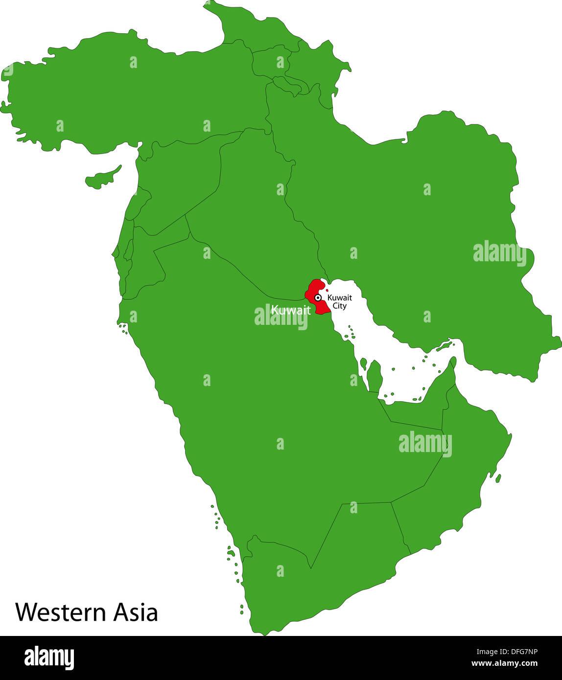 Kuwait map Stock Photo: 61208274 - Alamy