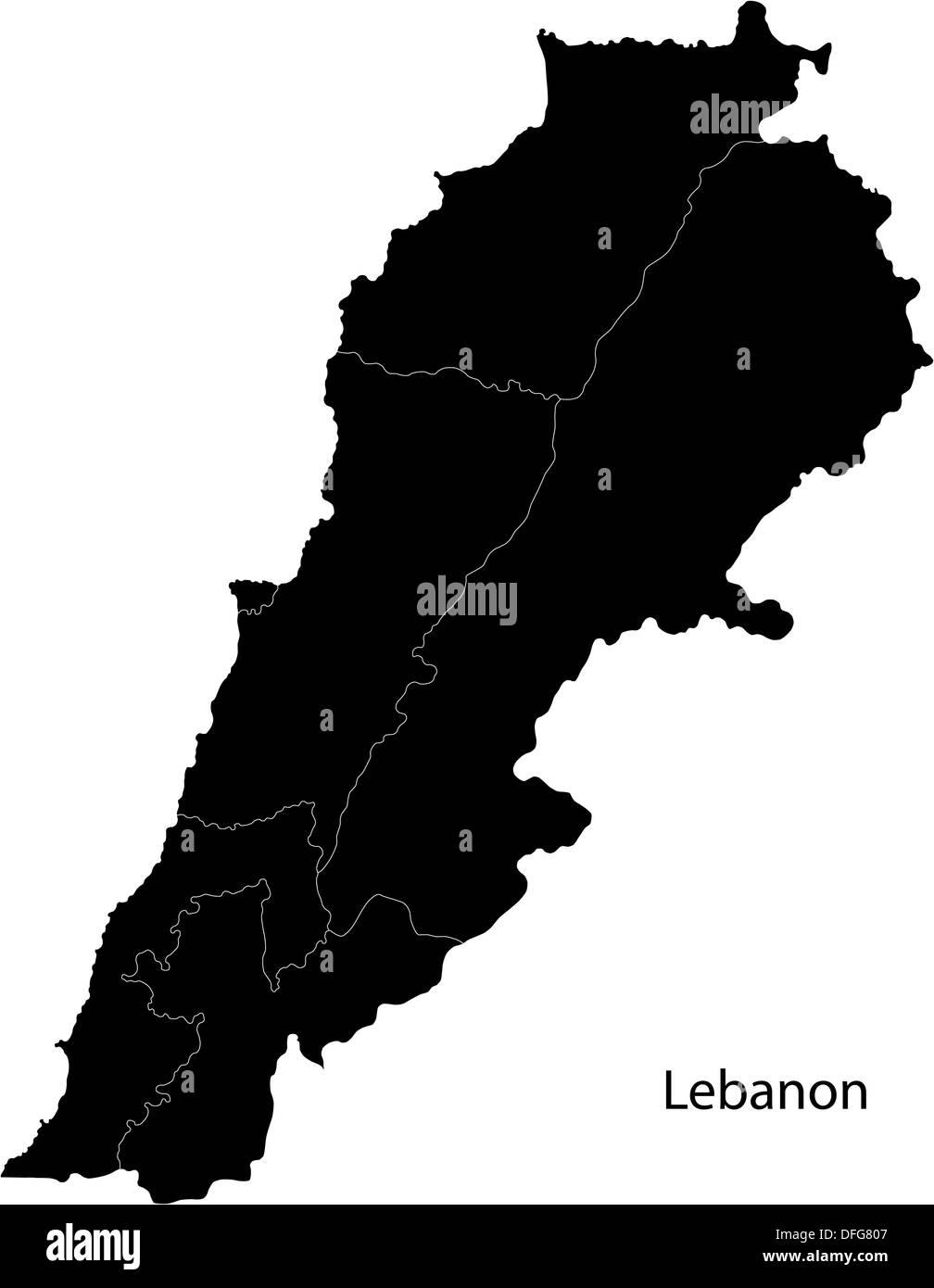 Black Lebanon Map Stock Alamy