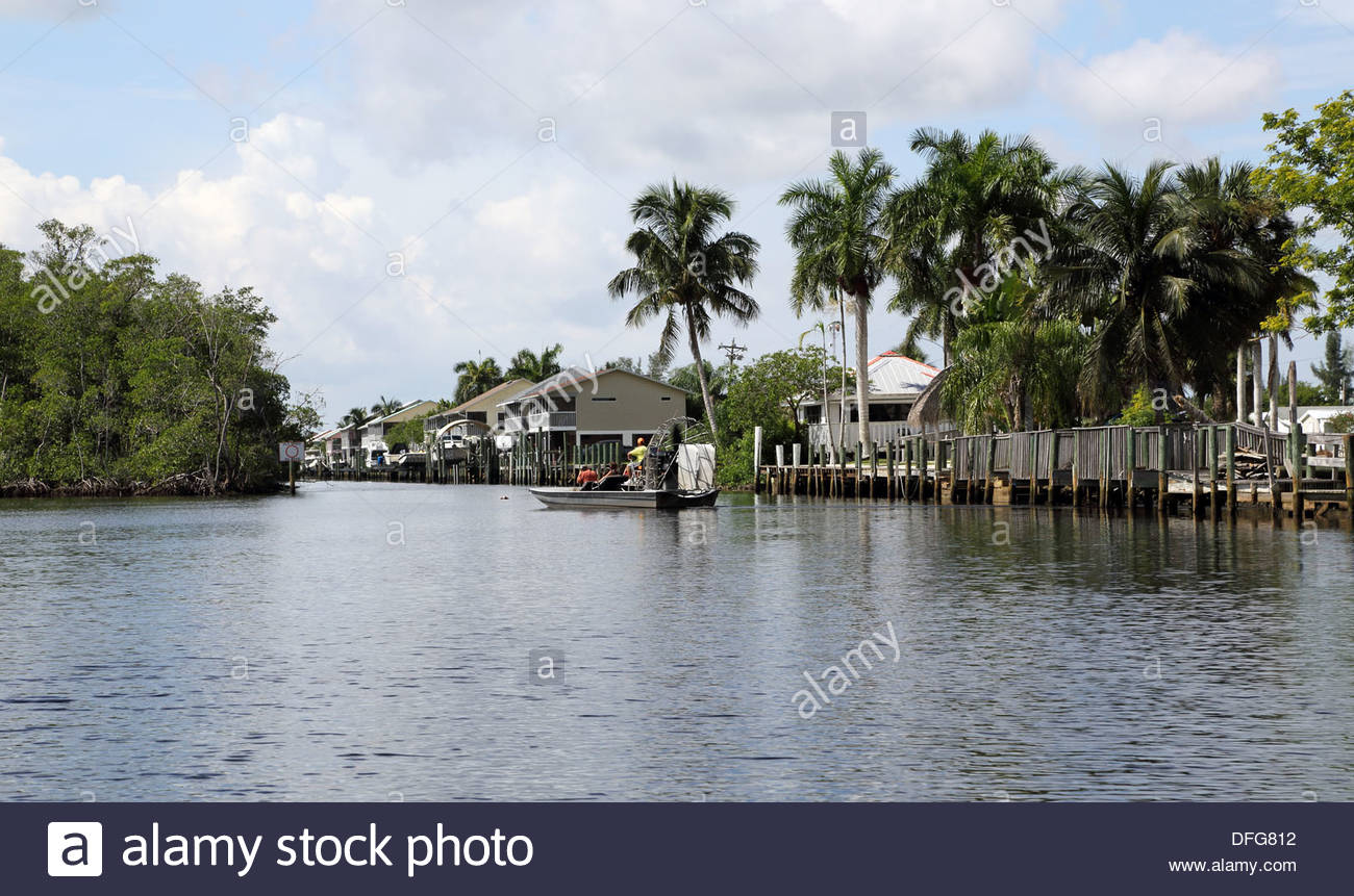 airboat trips at everglades city florida usa - Stock Image