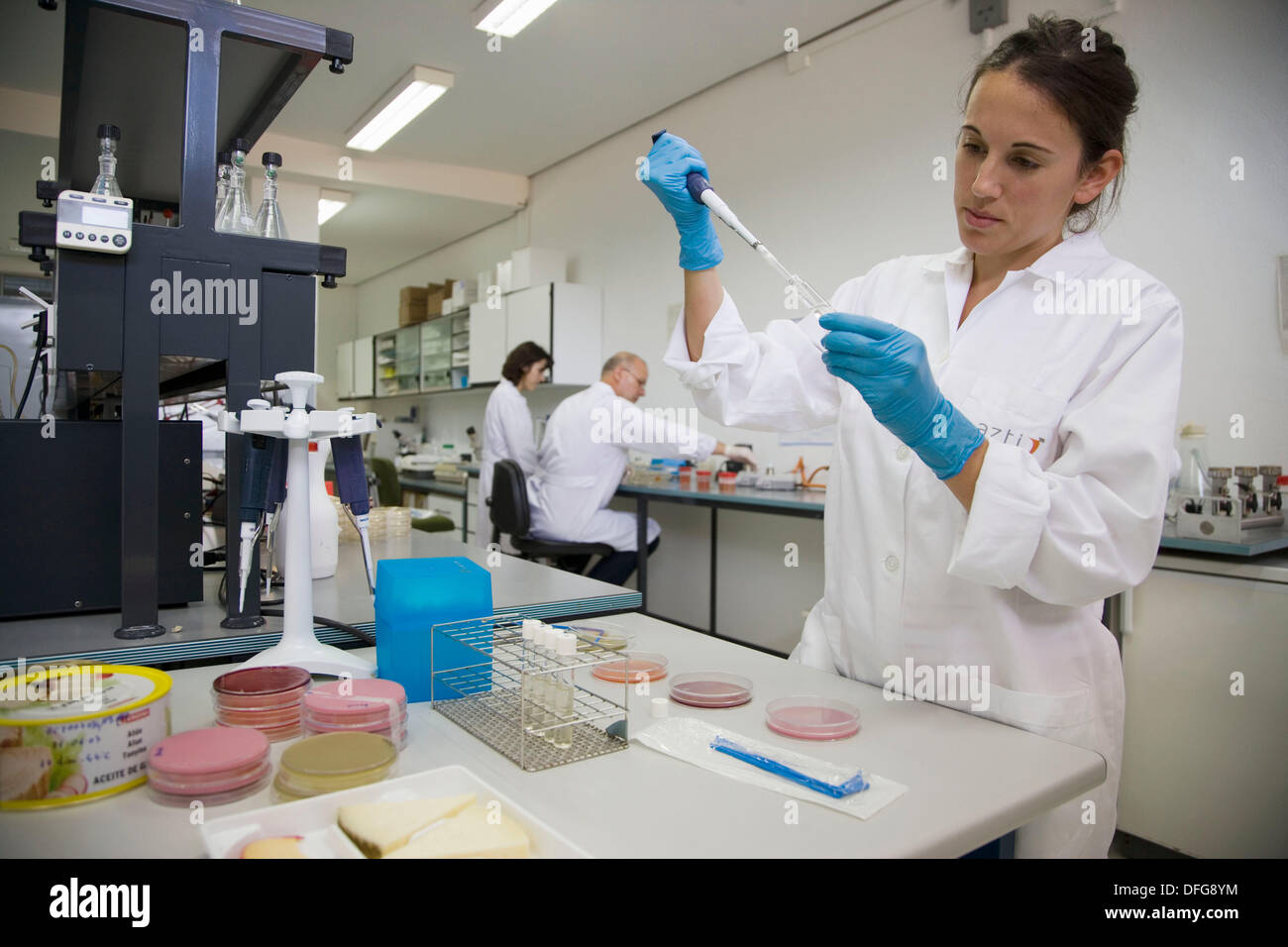 Microbiology laboratory. Microbiological tests of food. AZTI-Tecnalia. Technological Centre specialised in Marine and Food - Stock Image