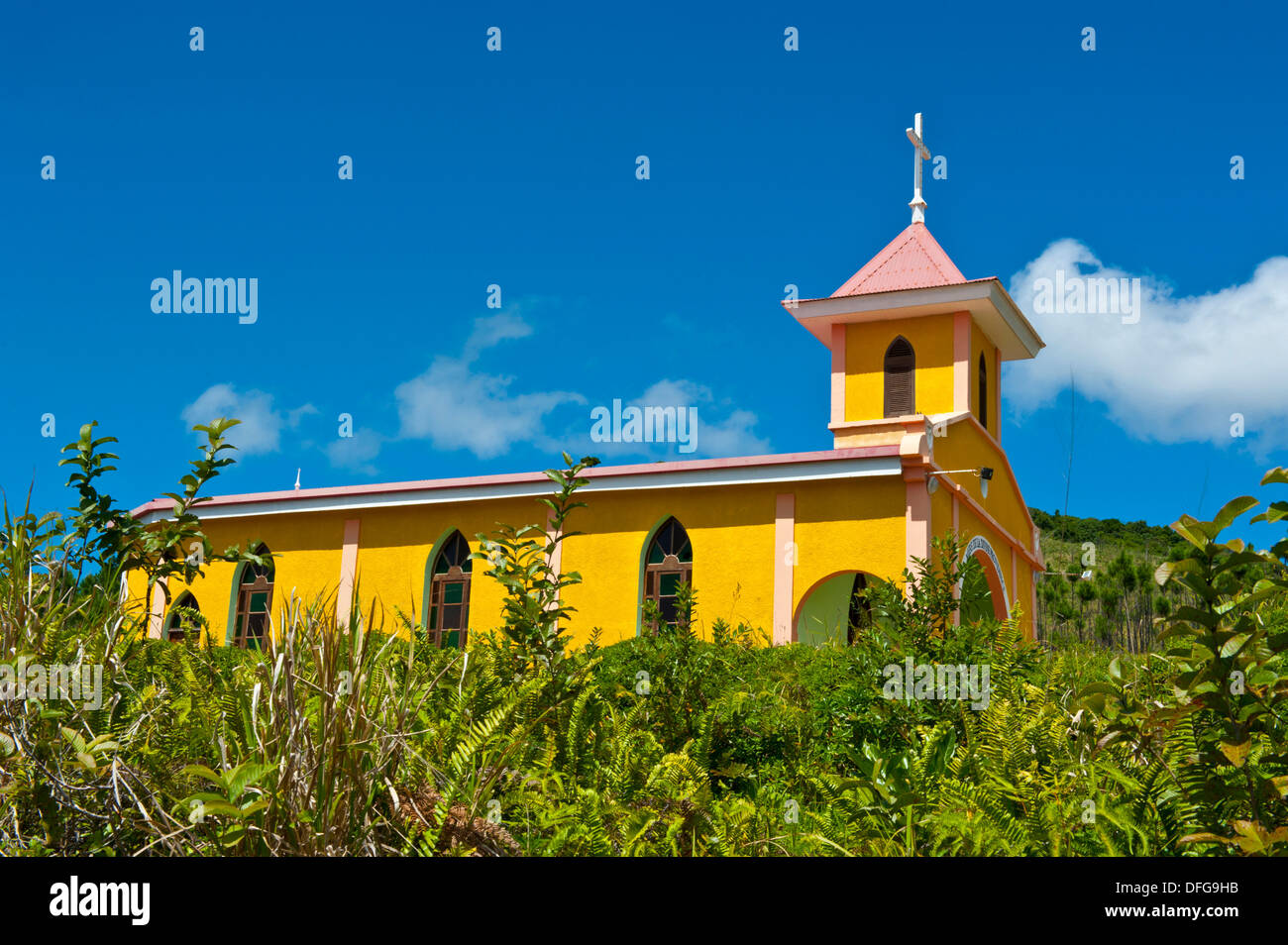 Little unnamed church, Île des Pins, New Caledonia, France - Stock Image