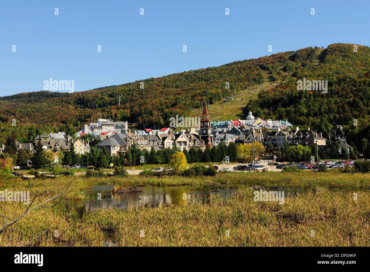 Town of Mont-Tremblant in autumn, Mont-Tremblant, Quebec Province, Canada - Stock Image