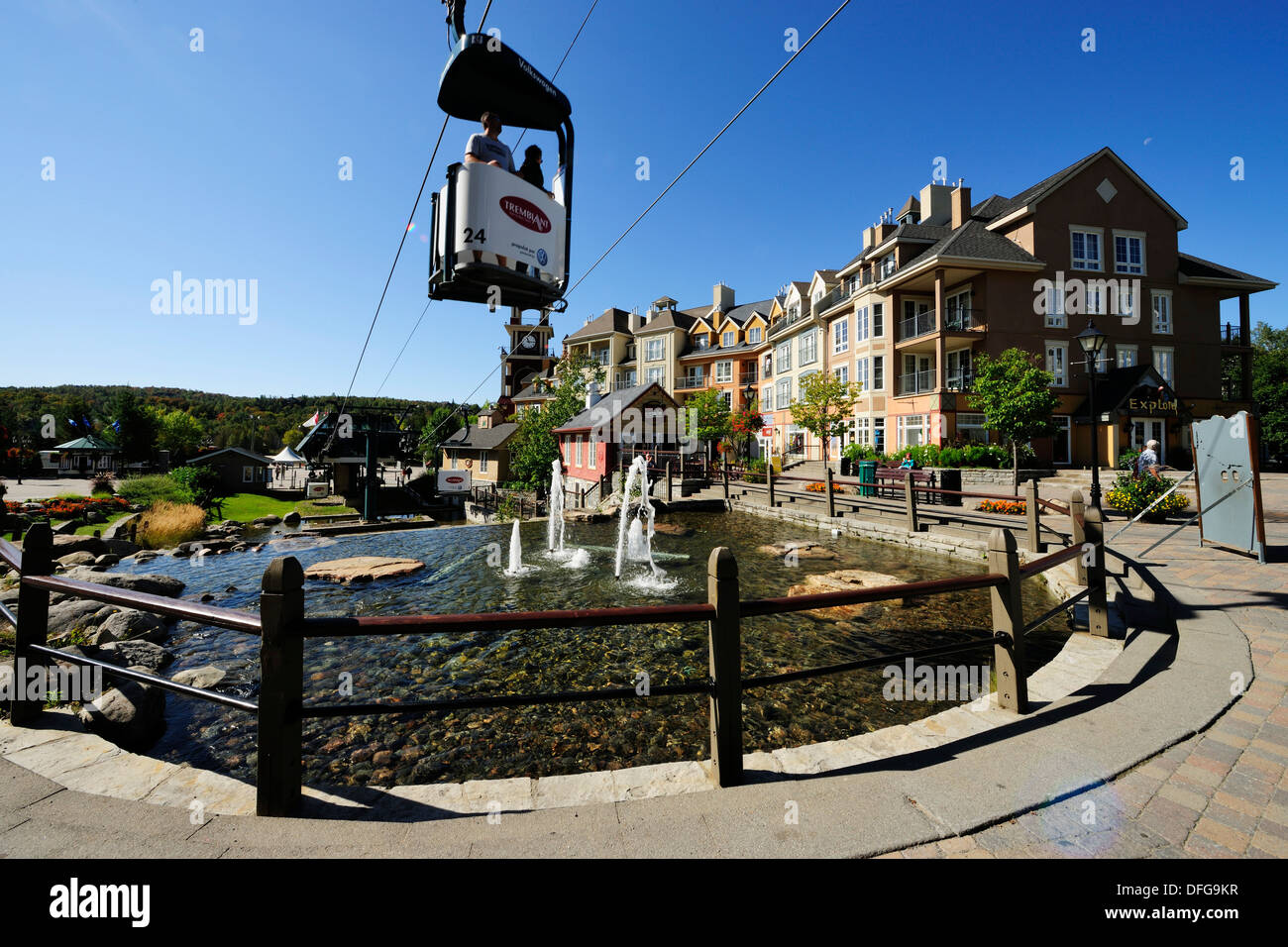 Cable car running across the pedestrian area of ​​Mont-Tremblant, Mont-Tremblant, Quebec Province, Canada - Stock Image