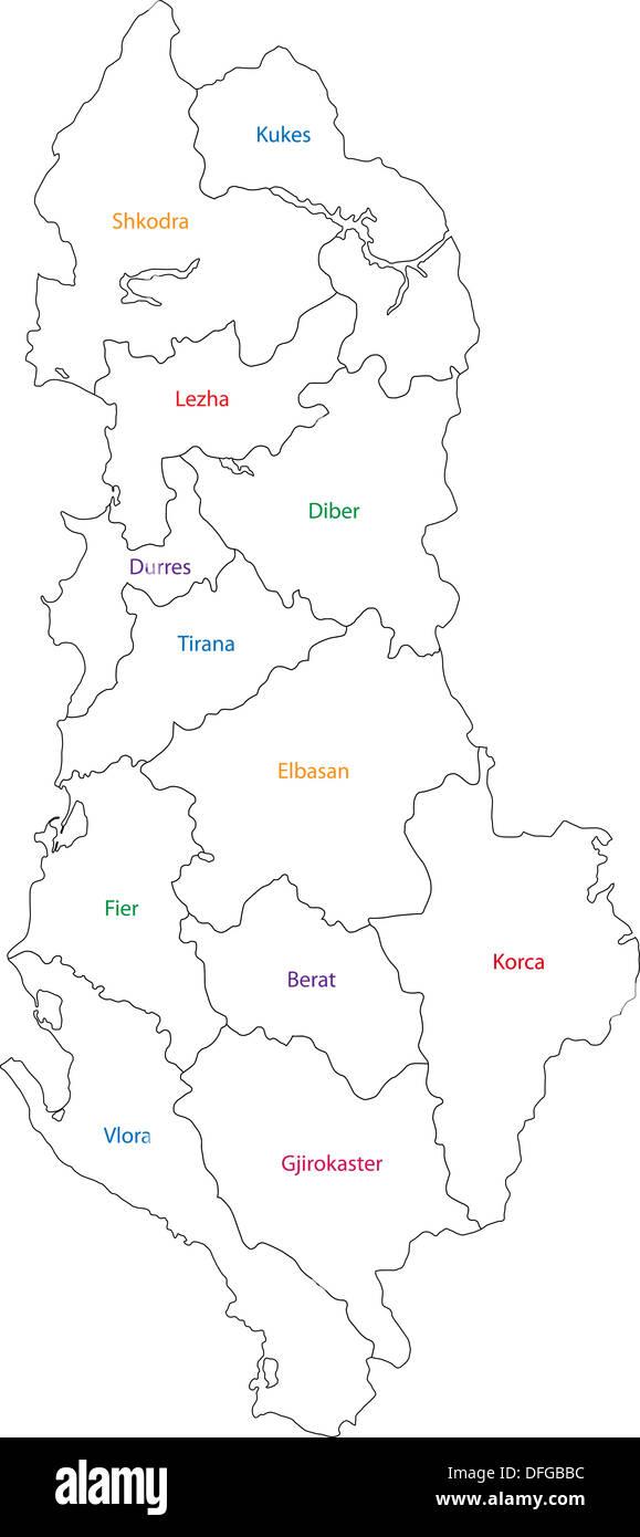 Contour Albania map - Stock Image