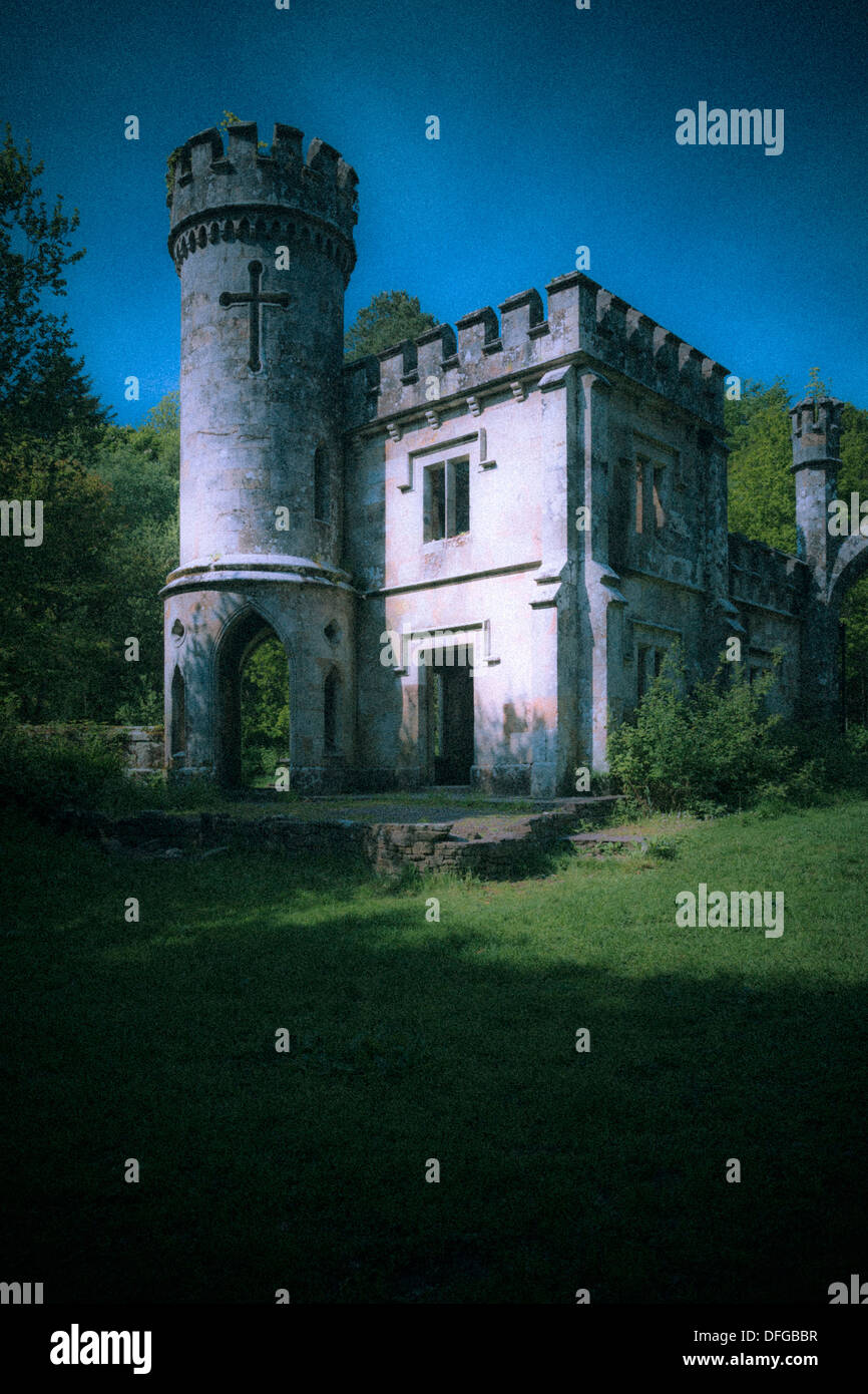 Mystical view of the Two Towers building in Lismore, County Waterford, Ireland, Europe - Stock Image