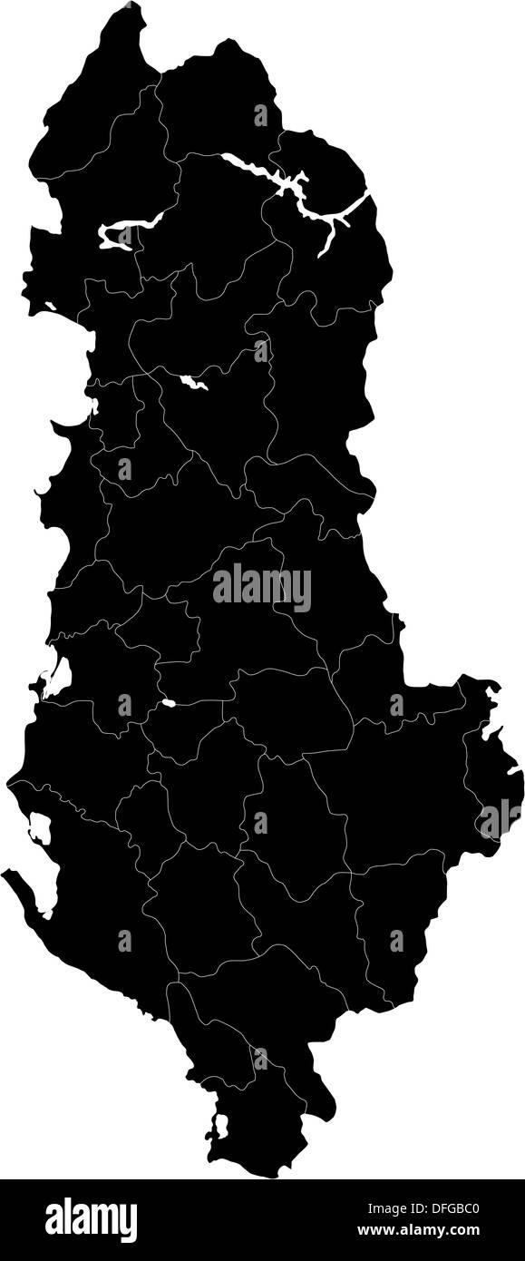 Black Albania map - Stock Image