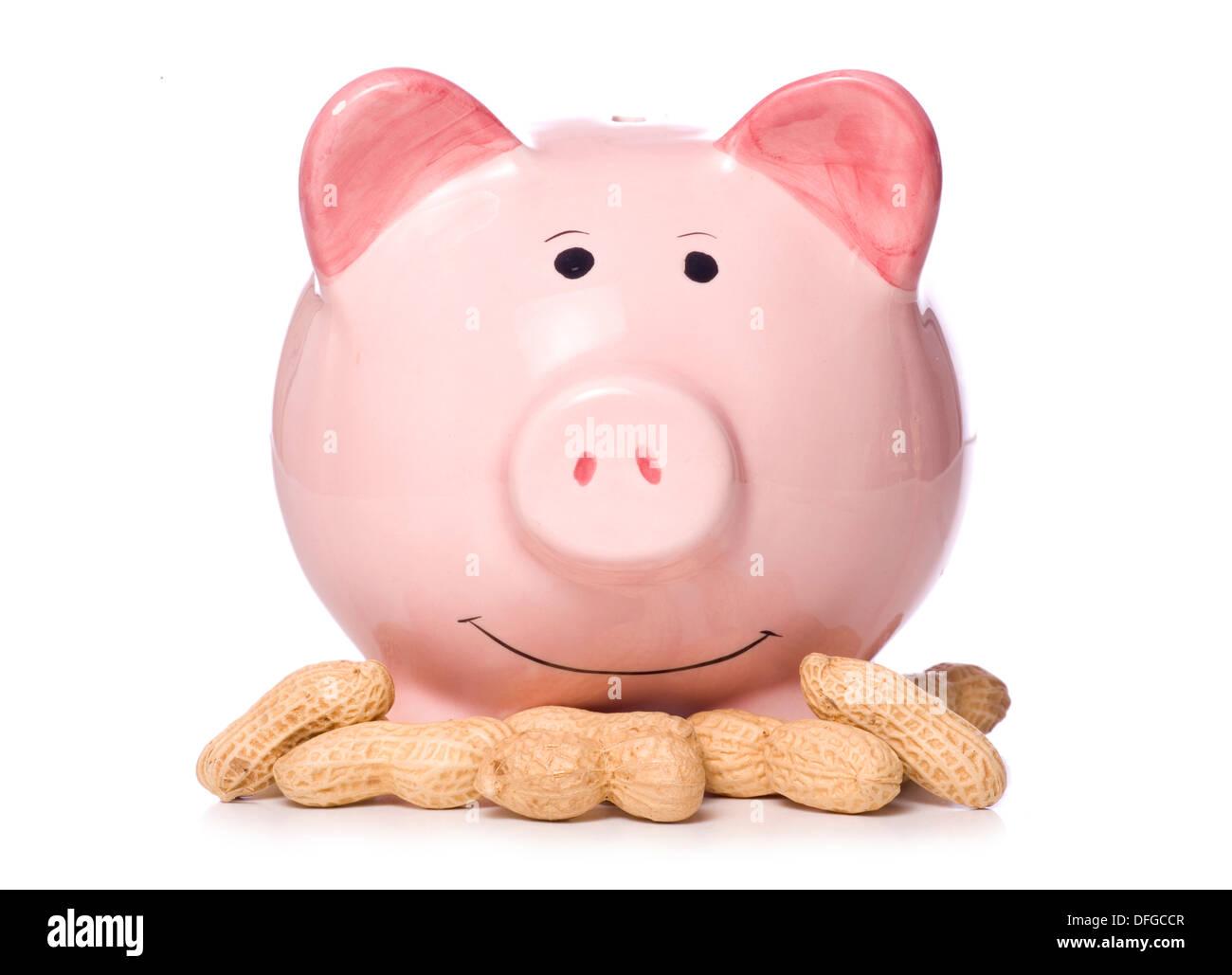 Low interest rates piggy bank studio cut out - Stock Image