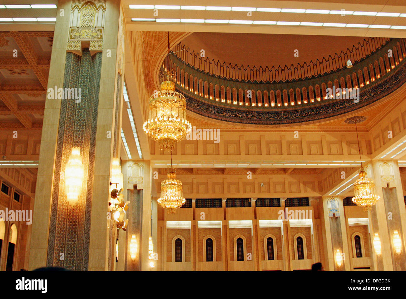 Interior Detail of the Main Hall in The Grand Mosque,largest in Kuwait   built in 1986 Stock Photo