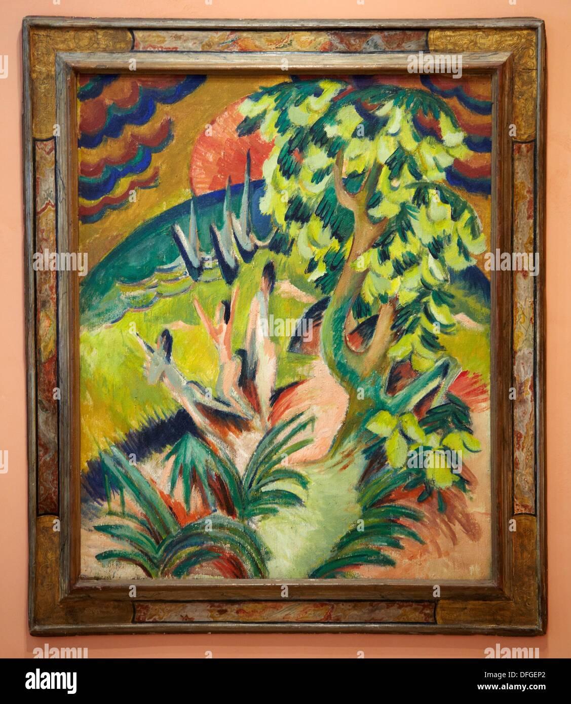 ´Curving Bay´, 1914, Ernst Ludwig Kirchner, Thyssen Bornemisza Museum, Madrid, Spain - Stock Image