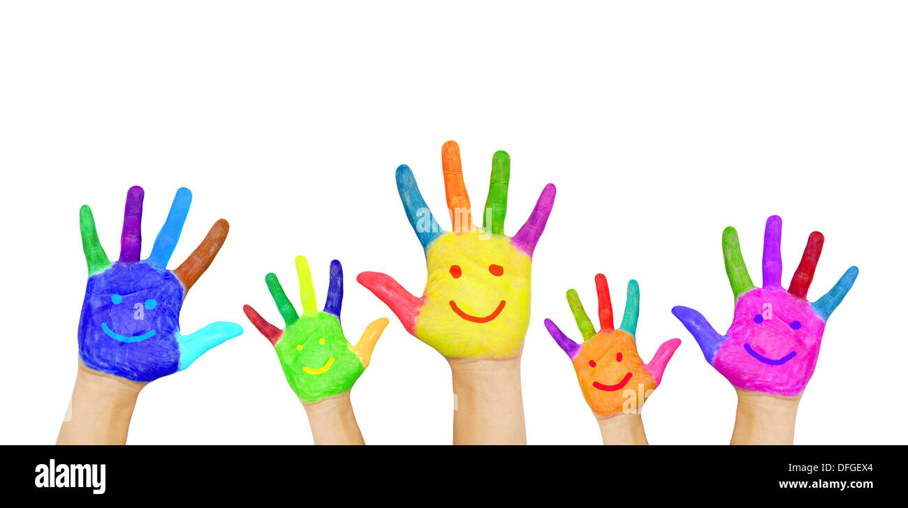 Painted In Different Colors Smiling Hands Ready For Your Text Or