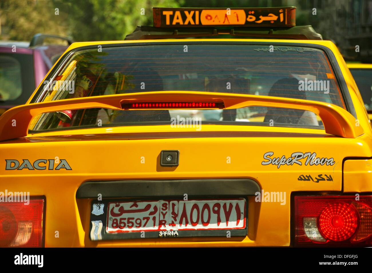 Taxi car at Damascus, Syria - Stock Image