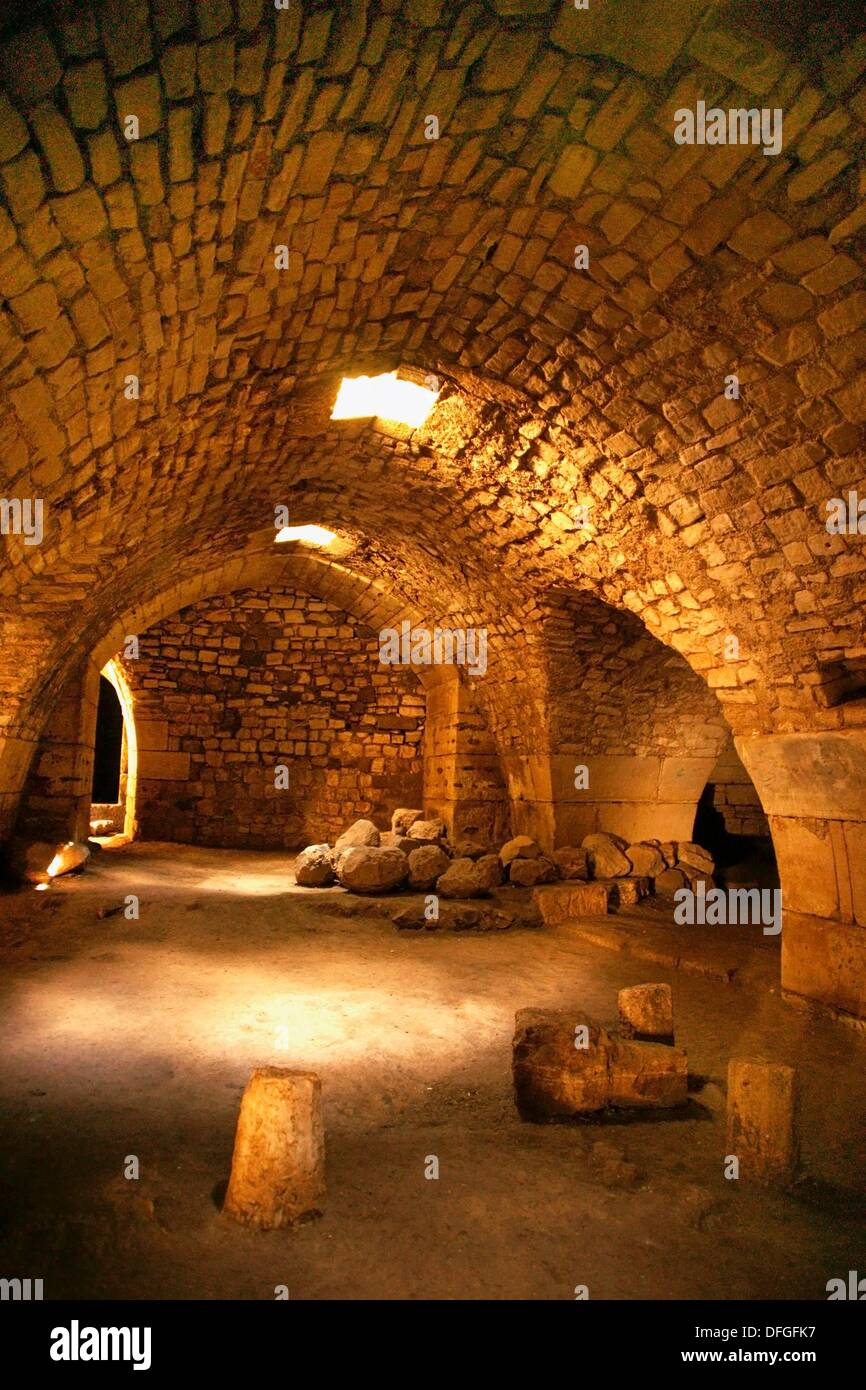 120 meters long vaulted corridor, Krak des Chevaliers, Syria - Stock Image