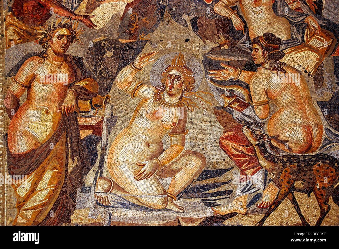 Detail of the mosaic of Artemis in the bath (3rd century), Museum of Suweida, Suweida, Hauran, Syria - Stock Image