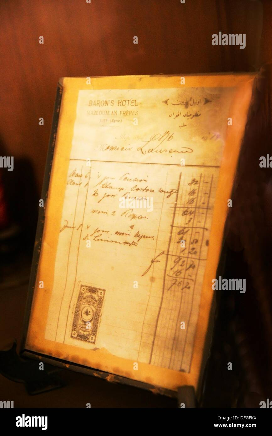 Hotel Baron: invoice from 1914 to ´Monsieur Lawrence´ (Lawrence of Arabia), Aleppo, Syria - Stock Image