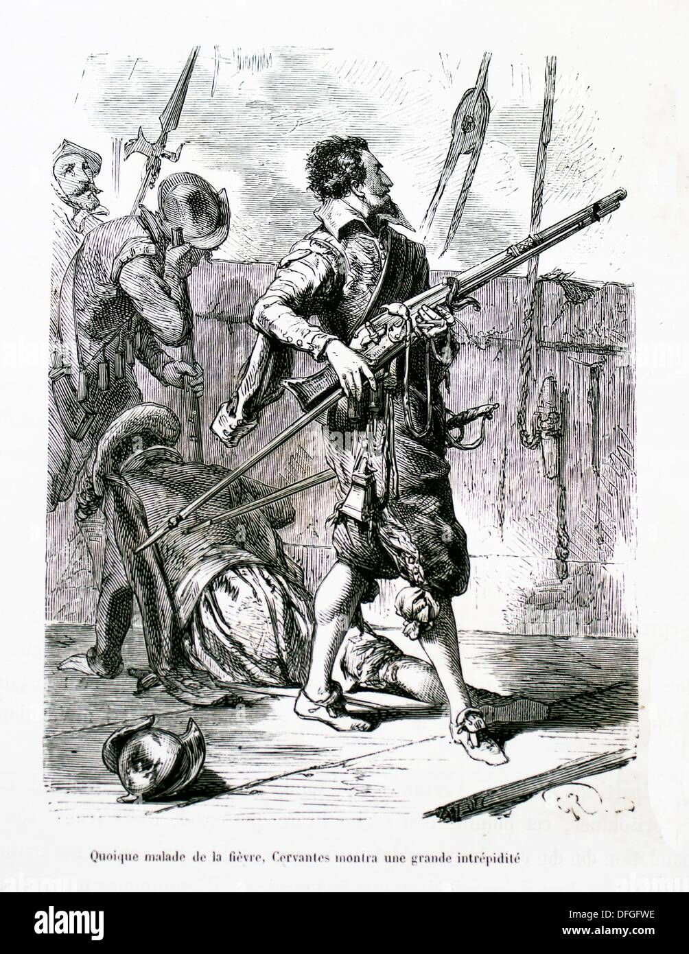 Miguel de Cervantes-Saavedra: ´although ill with fever, Cervantes showed great bravery ´ - Stock Image
