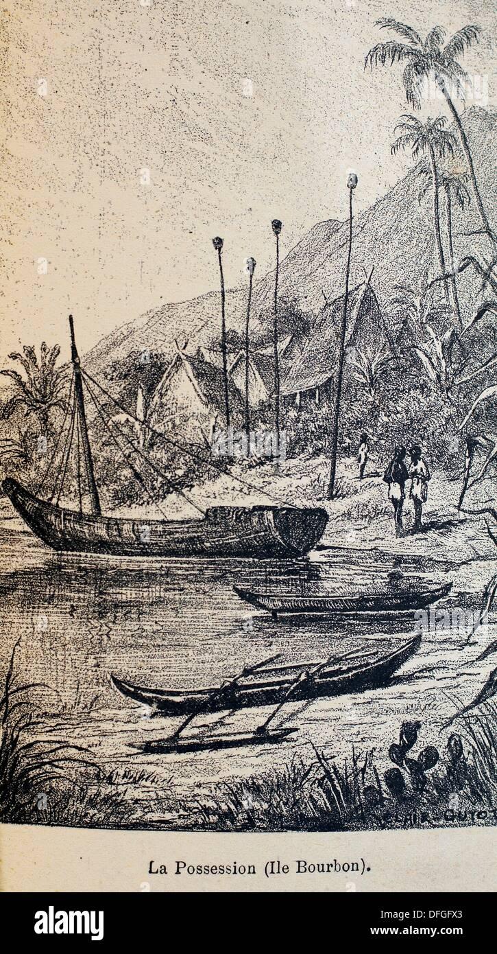 France, Madagascar: ´La Possession (Ile Bourbon)´, from the book ´Madagascar, la reine des Iles Africaines´, 1883 - Stock Image