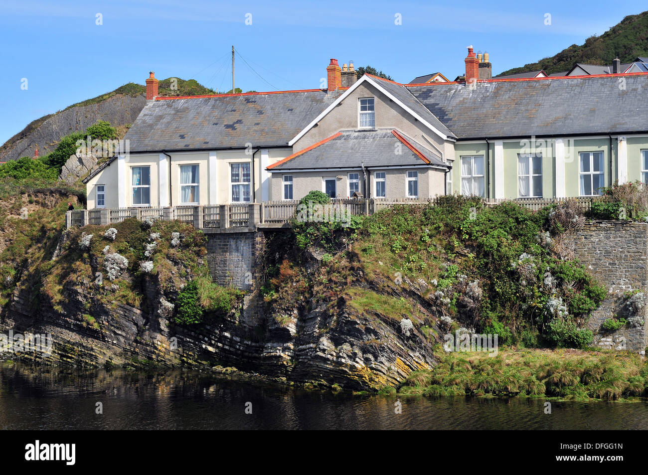 The building that was once the Fever and Isolation Hospital, Aberystwyth, Wales, UK on the bank of the River Ystwyth - Stock Image