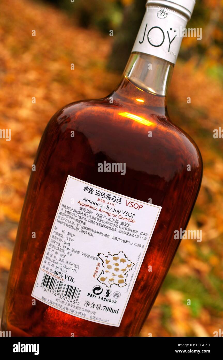 Bottle of the famed XO Premium Armagnac for China export, Domaine de Joÿ wines and armagnac estate, at Panjas, Gers, - Stock Image