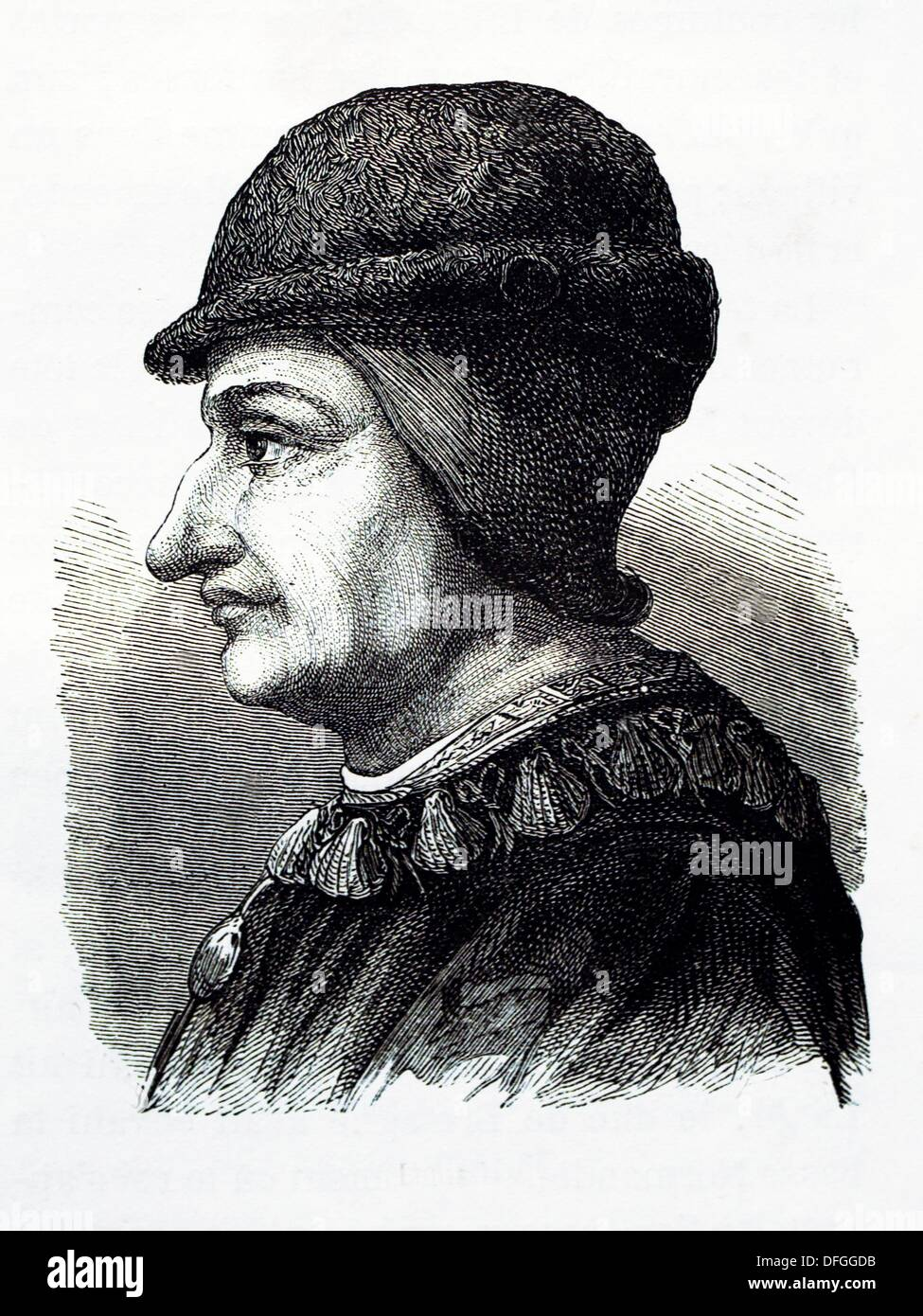 France-History- Louis XI 3 July 1423 – 30 August 1483, called the Prudent French: le Prudent and the Universal Spider Middle - Stock Image