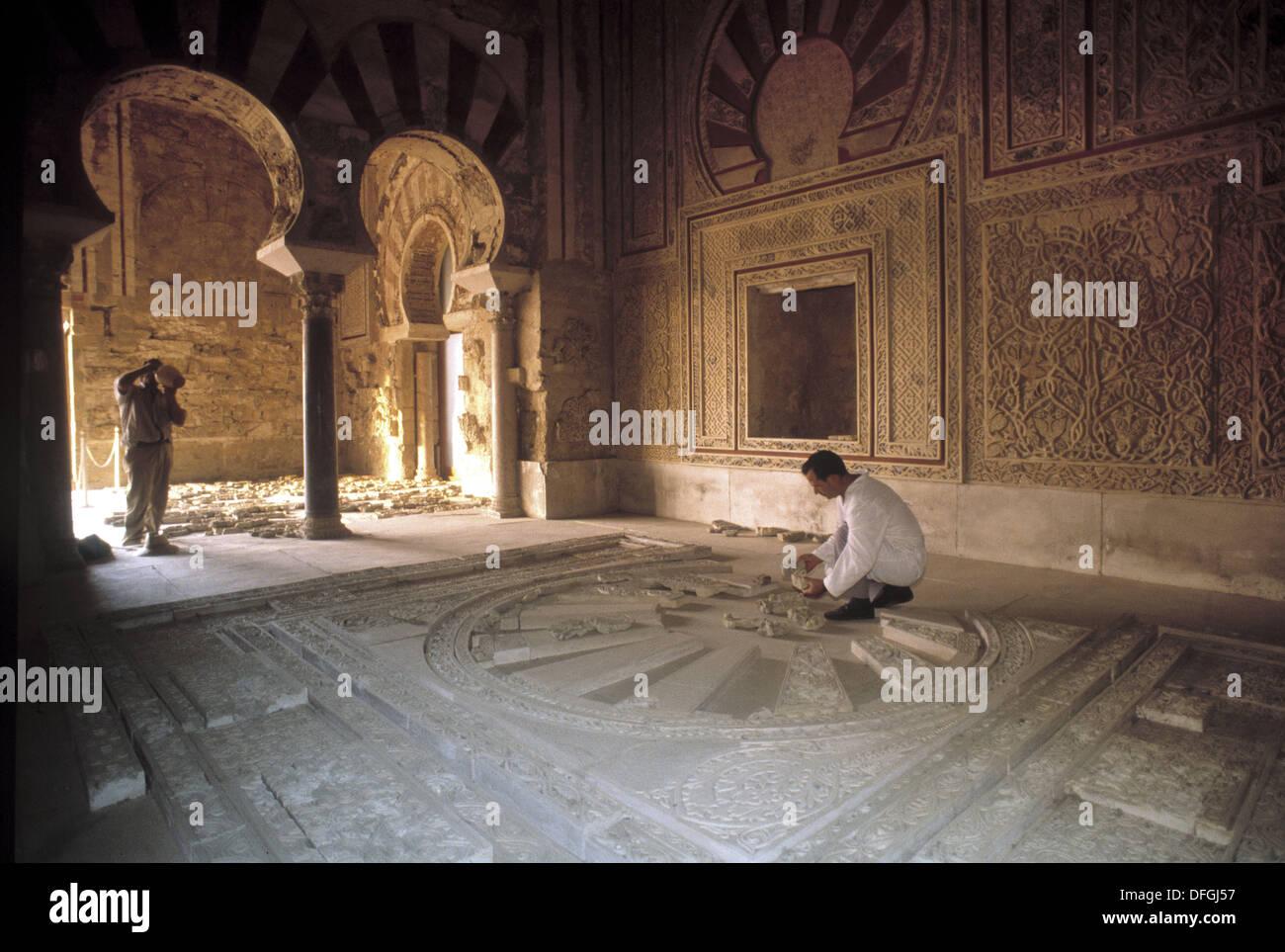Restauration of Abd-al Rahman III Hall at the moorish ruins of Medina Azahara. Cordoba. Spain. - Stock Image