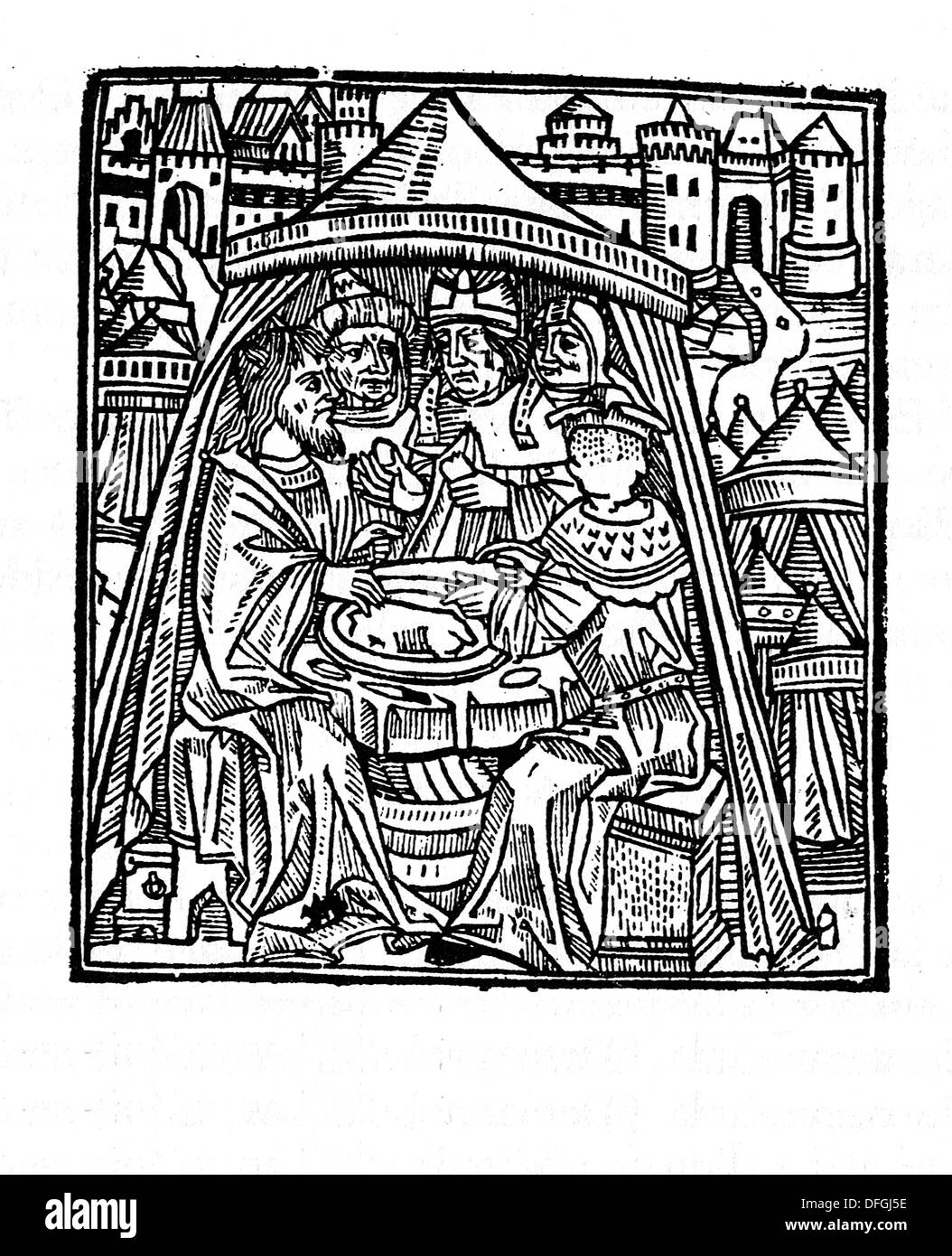 Celebration of Passover, (Moses on the left, and Aaron, in the centre). French Bible. Paris. 1547. - Stock Image