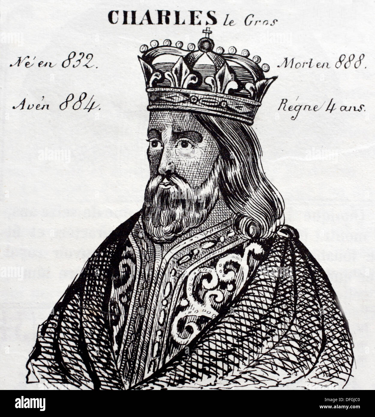Carlos III el Gordo, king of France from 884 to 888. History of France, by  J.Henry (Paris, 1842) - Stock Image